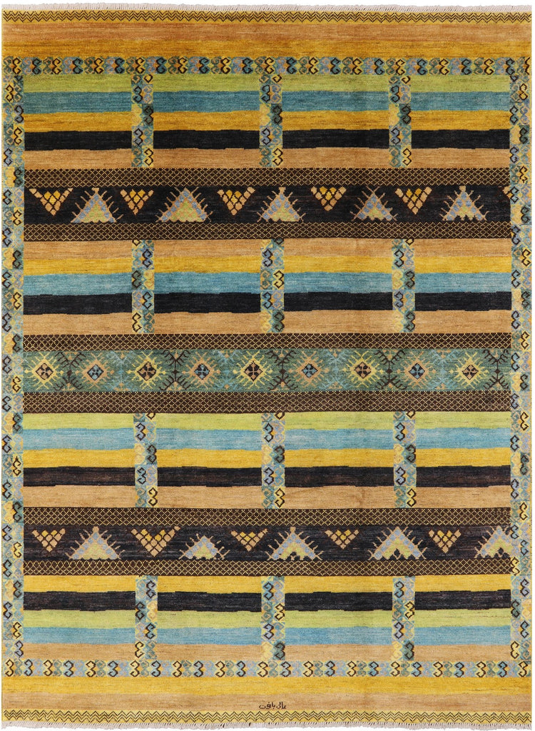 Signed Oriental Navajo Design 10 X 14 Area Rug Golden Nile
