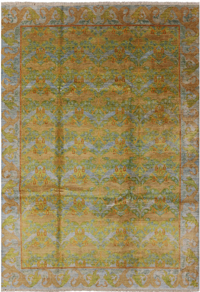 "William Morris Hand Knotted Wool Area Rug - 7' 10"" X 11' 6"" - Golden Nile"