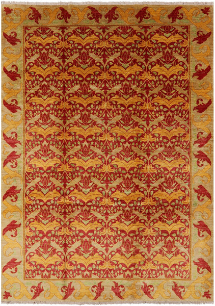 "William Morris Hand Knotted Area Rug - 8' 2"" X 10' 4"" - Golden Nile"