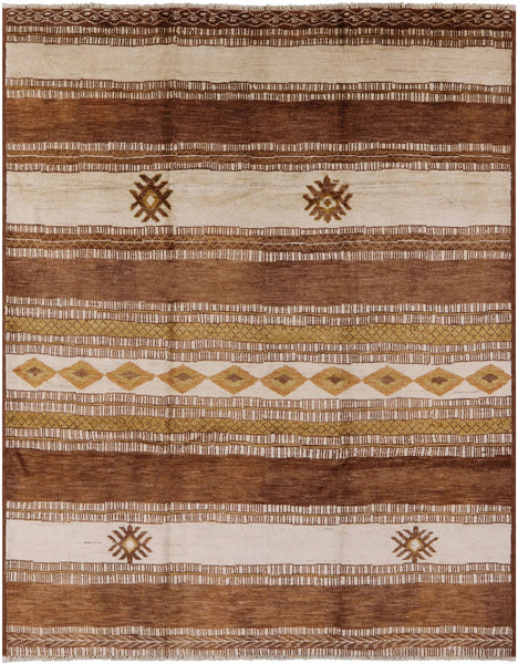 "Navajo Hand Knotted Wool Rug - 8' 2"" X 10' 6"" - Golden Nile"