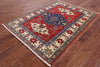 "Kazak Hand Knotted Rug - 4' X 5' 7"" - Golden Nile"
