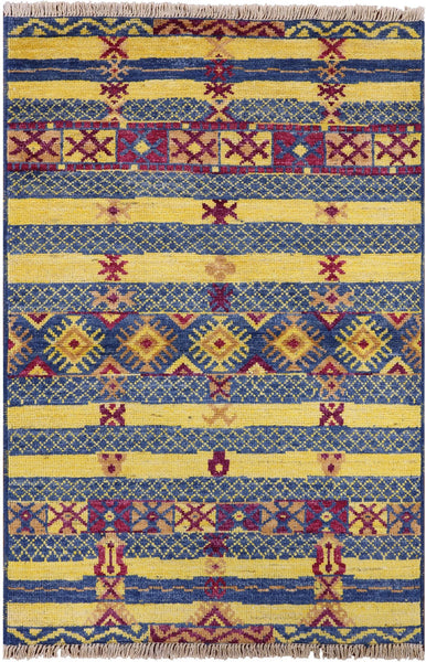 "Navajo Design Moroccan Area Rug - 4' 2"" X 6' 1"" - Golden Nile"