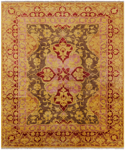 "Arts & Crafts Hand Knotedd Wool Area Rug - 8' 1"" X 9' 8"" - Golden Nile"
