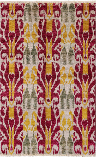 "Ikat Hand Knotted Wool Area Rug - 4' 5"" X 7' - Golden Nile"