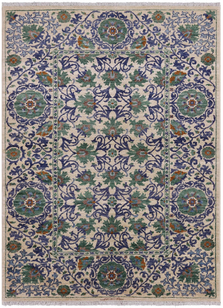 "William Morris Hand Knotted Wool Area Rug - 4' 4"" X 5' 10"" - Golden Nile"