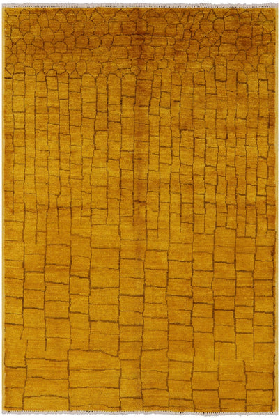 "Moroccan Hand Knotted Wool Rug - 5' 10"" X 8' 7"" - Golden Nile"