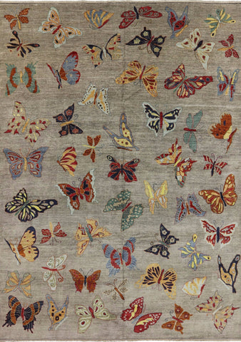 10 X 14 Wool Modern Butterflies Design Hand Made Rug