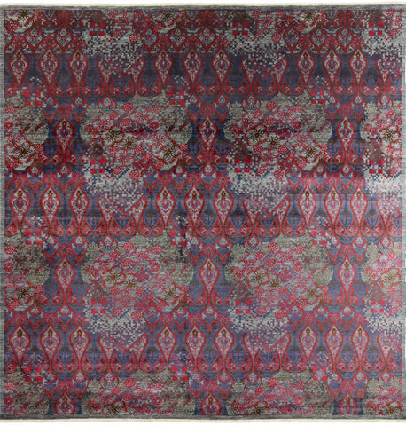 12' Square Modern Arts And Crafts Hand Knotted Rug