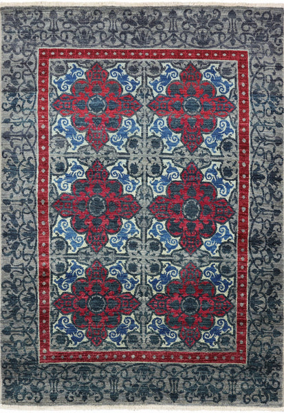 "William Morris Hand Knotted Wool Area Rug - 4' 11"" X 6' 11"" - Golden Nile"