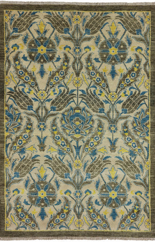 4 X 6 Persian Suzani Hand Knotted Area Rug