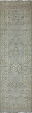 3' X 10' Oriental Runner White Wash Peshawar Wool Rug