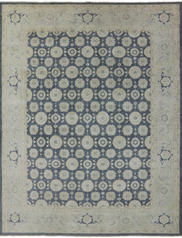 9' X 12' Hand Knotted Wool White Wash Peshawar Rug