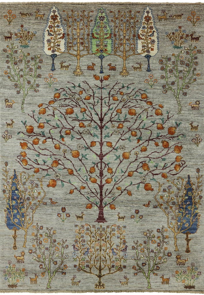 5 X 7 Tree Of Life Design Loribaft Super Gabbeh Wool Area Rug
