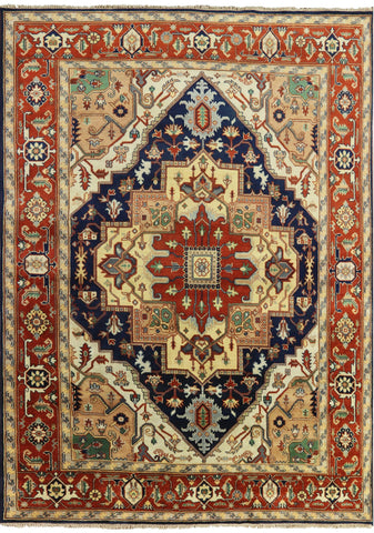 9' X 12' Hand Knotted Oriental Heriz Traditional Wool Rug
