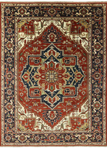 9' X 12' Oriental Heriz Hand Knotted Wool Area Rug