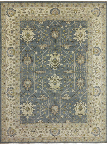 9' X 12' Handmade William Morris Oriental Wool Rug