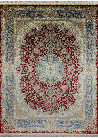 Hand Knotted 100% Silk High End Persian Rug 9 X 12
