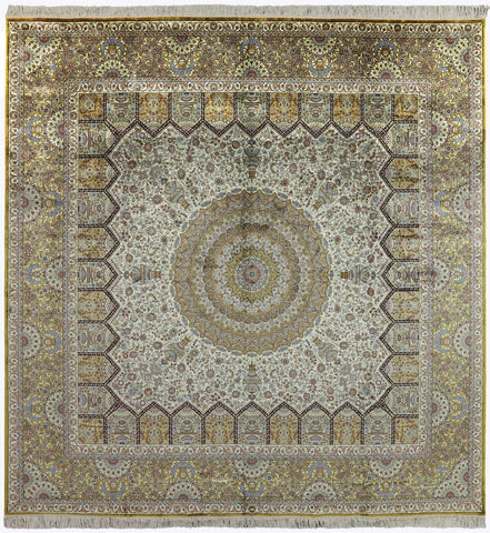 10' Square High End Persian 100% Silk Area Rug