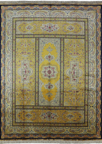 9' X 12' Hand Knotted Signed Persian 100% Silk High End Rug
