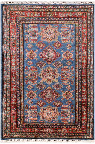 Super Kazak Hand Knotted Area Rug - 3' 3