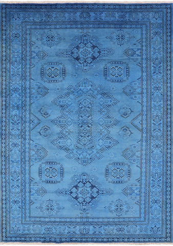 Overdyed Full Pile Wool Super Kazak Handmade Area Rug - 6' 1