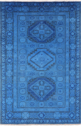 Full Pile Wool Overdyed Super Kazak Hand Knotted Area Rug - 4' 10