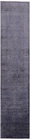 Overdyed Full Pile Handmade Runner Rug - 2' 7
