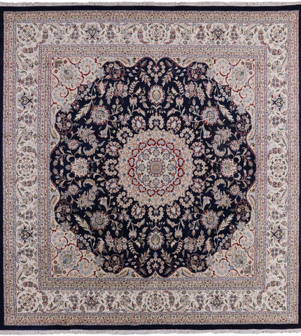 Square Persian Nain Hand Knotted Wool & Silk Area Rug - 11' 7