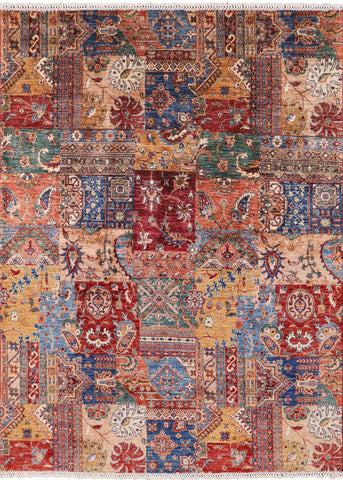 Super Kazak Hand Knotted Wool Area Rug - 5' 8