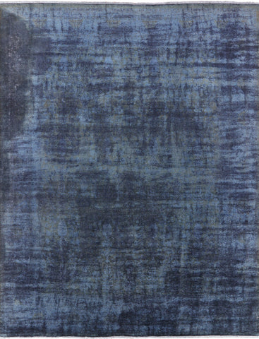 8 X 10 Blue Full Pile Wool Handmade Overdyed Rug