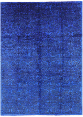 Overdyed Full Pile Hand Knotted Wool Area Rug - 8' 8