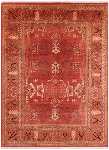 Peshawar Hand Knotted Wool Area Rug - 9' 3