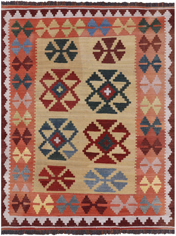 Reversible Kilim Flat Weave Wool on Wool Area Rug - 5' 2