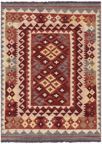 Reversible Kilim Flat Weave Wool on Wool Area Rug - 2' 9