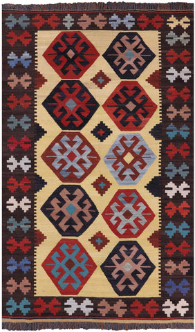Reversible Kilim Flat Weave Wool on Wool Area Rug - 4' 2
