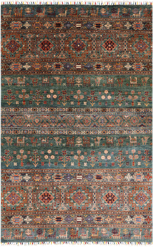 Super Gabbeh Hand Knotted Wool Area Rug - 5' 6