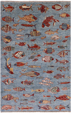 Super Gabbeh Fish Design Hand Knotted Wool Area Rug - 3' 10