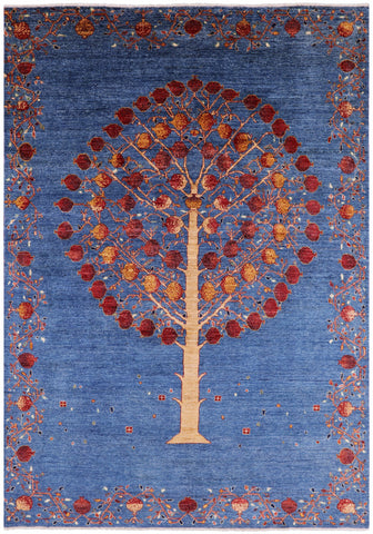 Pomegranate Tree Super Gabbeh Hand Knotted Wool Area Rug - 6' 9