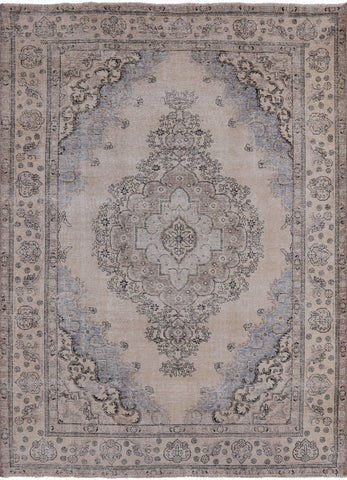 Vintage Persian White Wash Hand Knotted Wool Area Rug - 9' 4