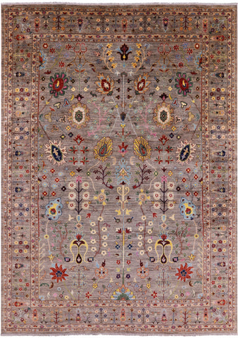 Peshawar Hand Knotted Wool Area Rug - 10' 1