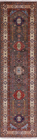 Peshawar Hand Knotted Wool Runner Rug - 2' 9