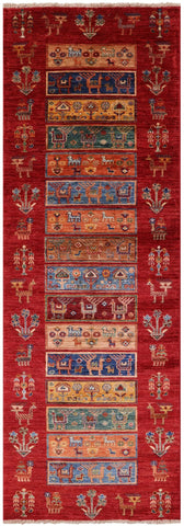 Persian Gabbeh Hand Knotted Wool Runner Rug - 2' 9