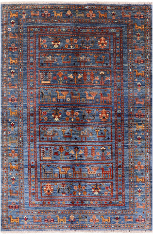 Tribal Persian Gabbeh Hand Knotted Wool Area Rug - 3' 11