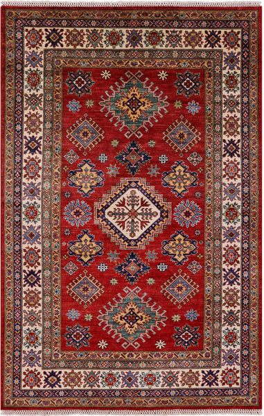 "Super Kazak Hand Knotted Wool Rug - 4' 10"" X 7' 6"" - Golden Nile"