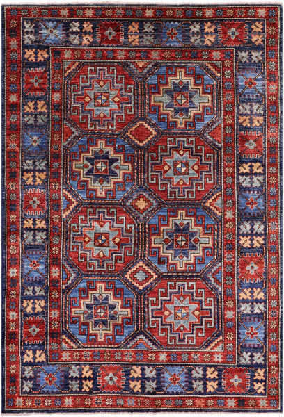 "Turkmen Ersari Handmade Wool Rug - 4' 9"" X 6' 11"" - Golden Nile"