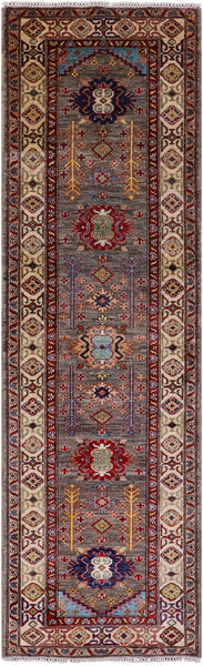 "Super Kazak Handmade Wool Runner Rug - 3' X 10' 2"" - Golden Nile"