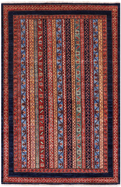 "Shall Persian Gabbeh Hand Knotted Wool Rug - 3' 3"" X 4' 11"" - Golden Nile"