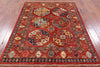 "Turkmen Ersari Hand Knotted Wool Rug - 5' X 6' 8"" - Golden Nile"