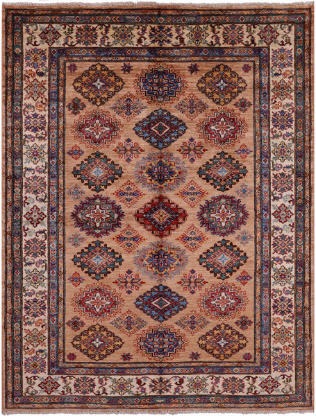 "Super Kazak Hand Knotted Wool Rug - 5' 1"" X 6' 7"" - Golden Nile"
