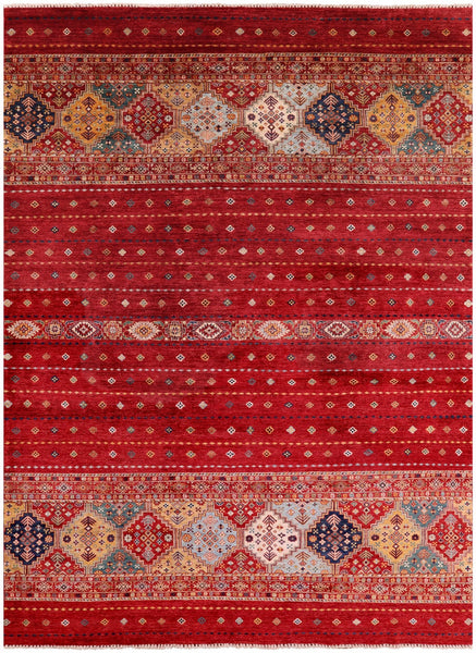 "Khorjin Persian Gabbeh Hand Knotted Wool Rug - 8' 3"" X 11' 4"" - Golden Nile"